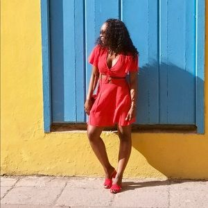 PrettyLittleThing Dresses - red cut out dress